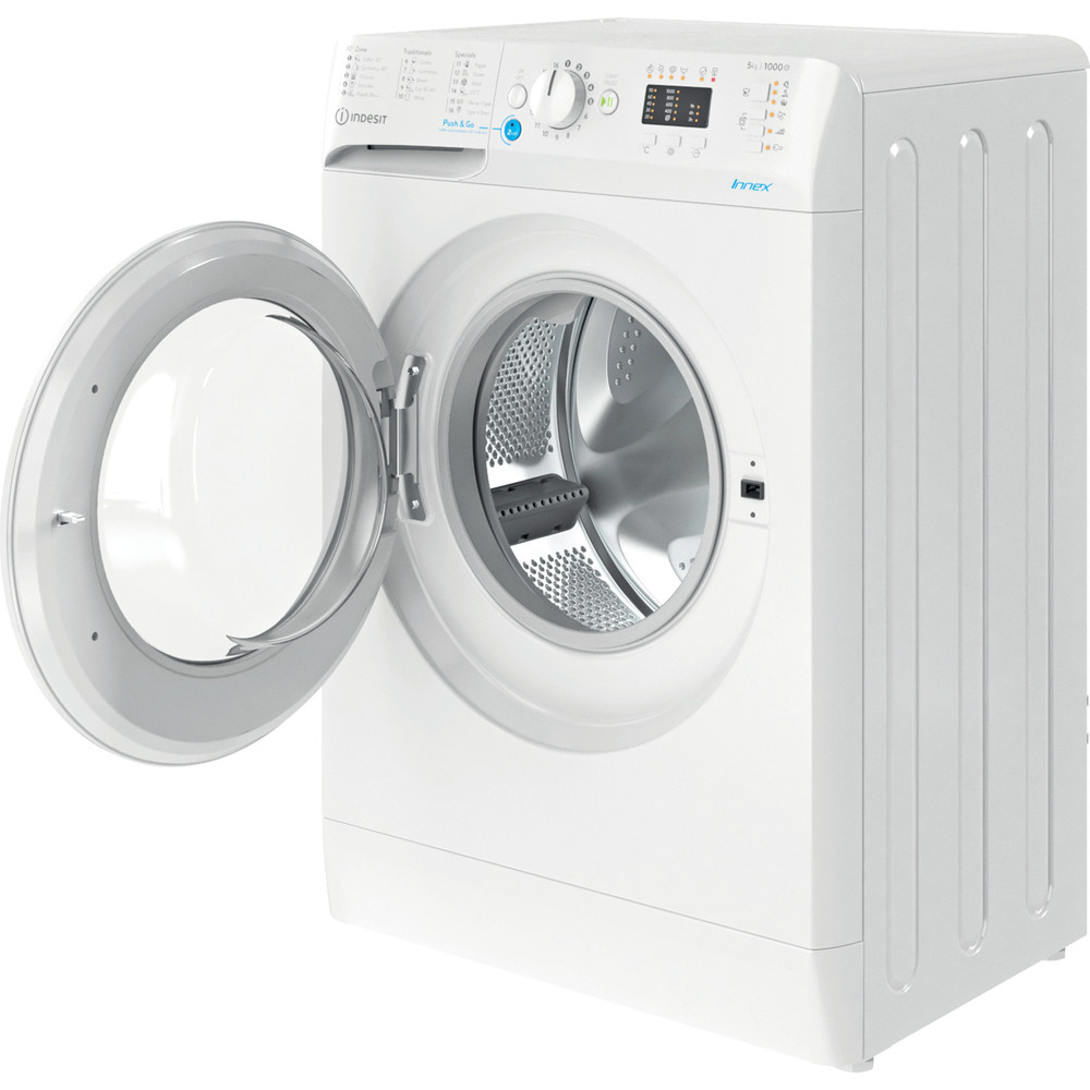 Indesit Перална машина Свободностоящи BWSA 51051 W EE N Бял Предно зареждане F Perspective open