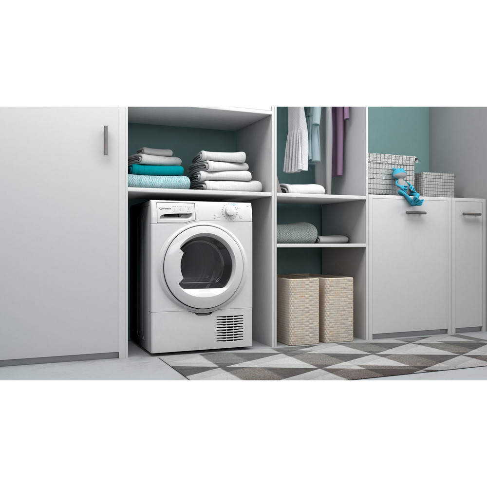 Indesit Droger I2 D71W EE Wit Lifestyle perspective