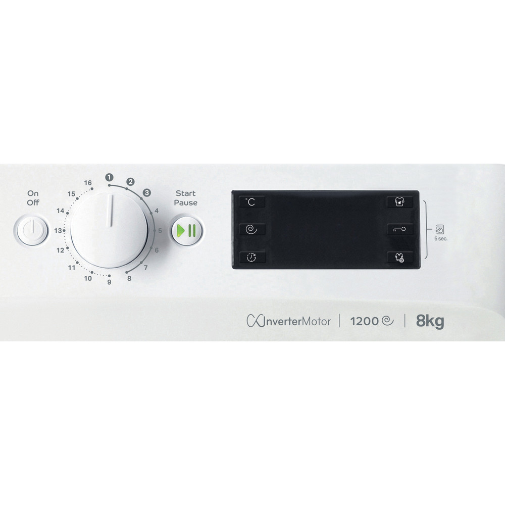 Indesit Mašina za veš Samostojeći MTWE 81283 WK EE Bijela Front loader A+++ Control panel