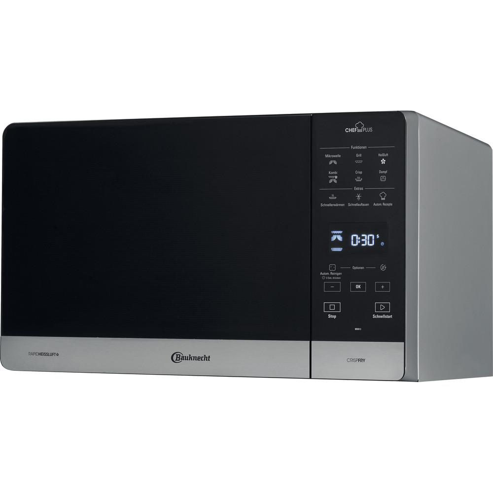 Bauknecht Mikrowelle Standgerät MW 49 SL Silber Elektronisch 25 Kombinationsbetrieb mit Mikrowelle 800 Perspective