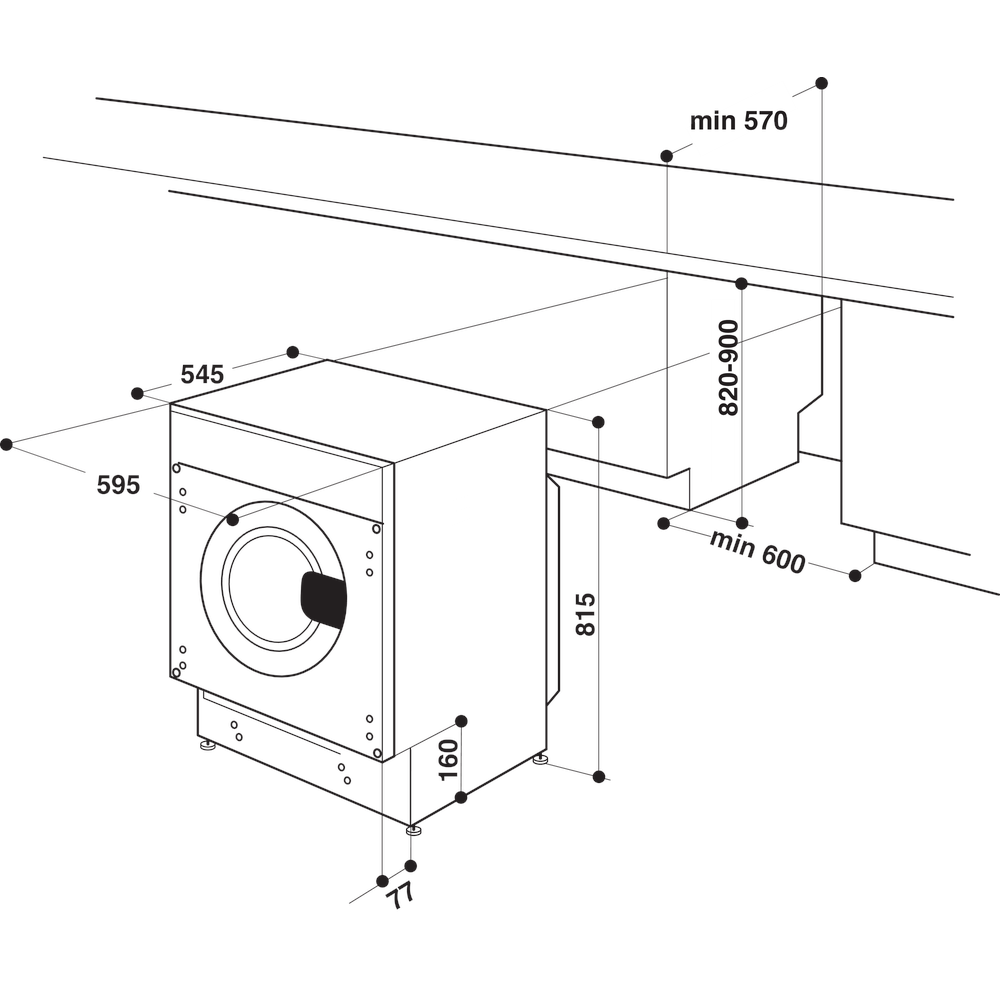 WHIRLPOOL BIWMWG71483EEUN Wasmachine inbouw voorlader, 7