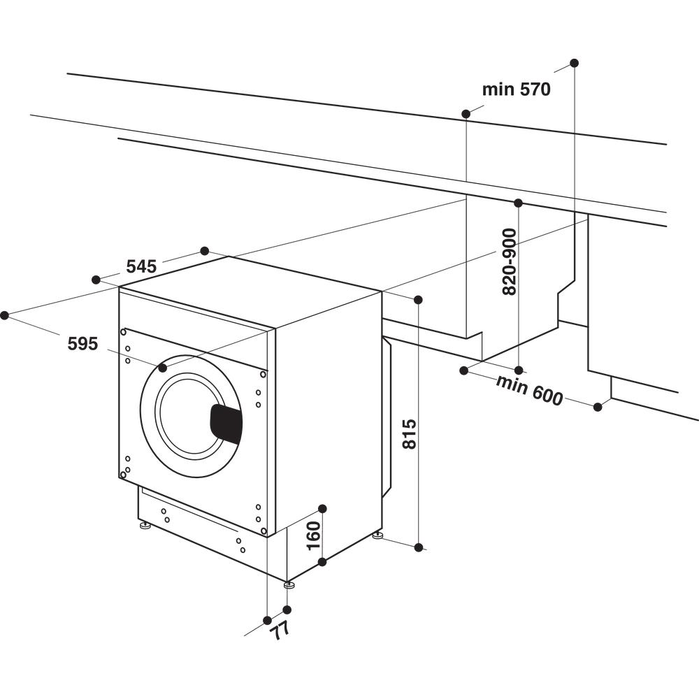 Indesit Máquina de lavar e secar roupa Encastre BI WDIL 861284 EU Branco Carga Frontal Technical drawing