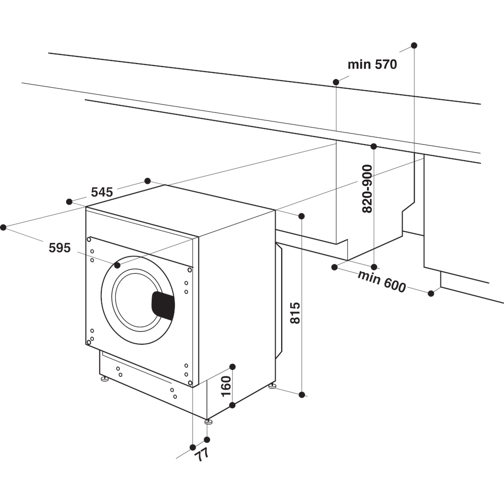 Indesit Lavadora Encastre BI WMIL 71252 EU N Blanco Cargador frontal E Technical drawing