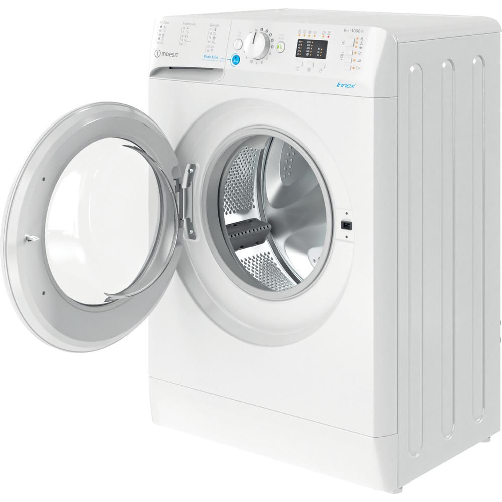 Indesit Veļas mazgājamā mašīna Brīvi stāvošs BWSA 61051 W EU N Balts Priekšējās ielādes F Perspective open