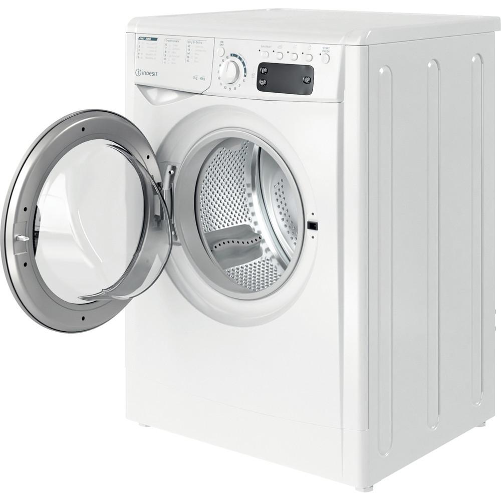 Indesit Kombineret vaskemaskine/tørretumbler Fritstående EWDE 761483 WS EE N Hvid Frontbetjent Perspective open