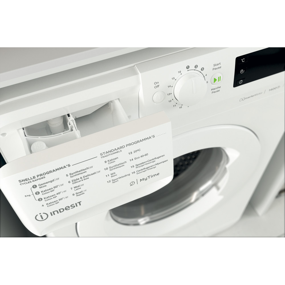 Indesit Wasmachine Vrijstaand MTWE 81483 W BE Wit Voorlader A+++ Drawer