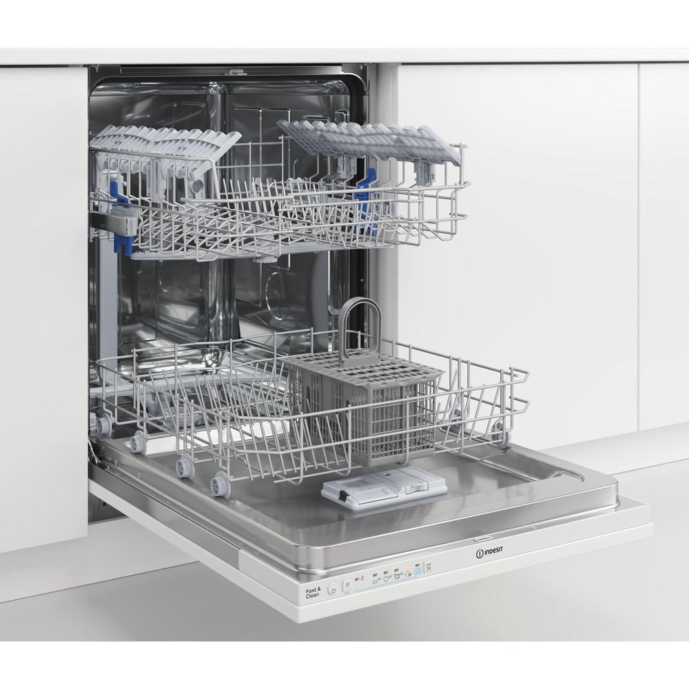 Indesit Mašina za pranje posuđa ugradbeni DIE 2B19 A A scomparsa totale F Perspective open