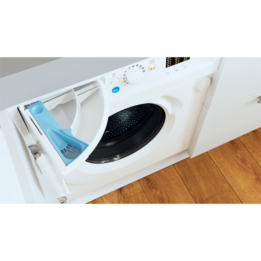 Indesit Washer dryer Built-in BI WDIL 75125 UK N White Front loader Drawer