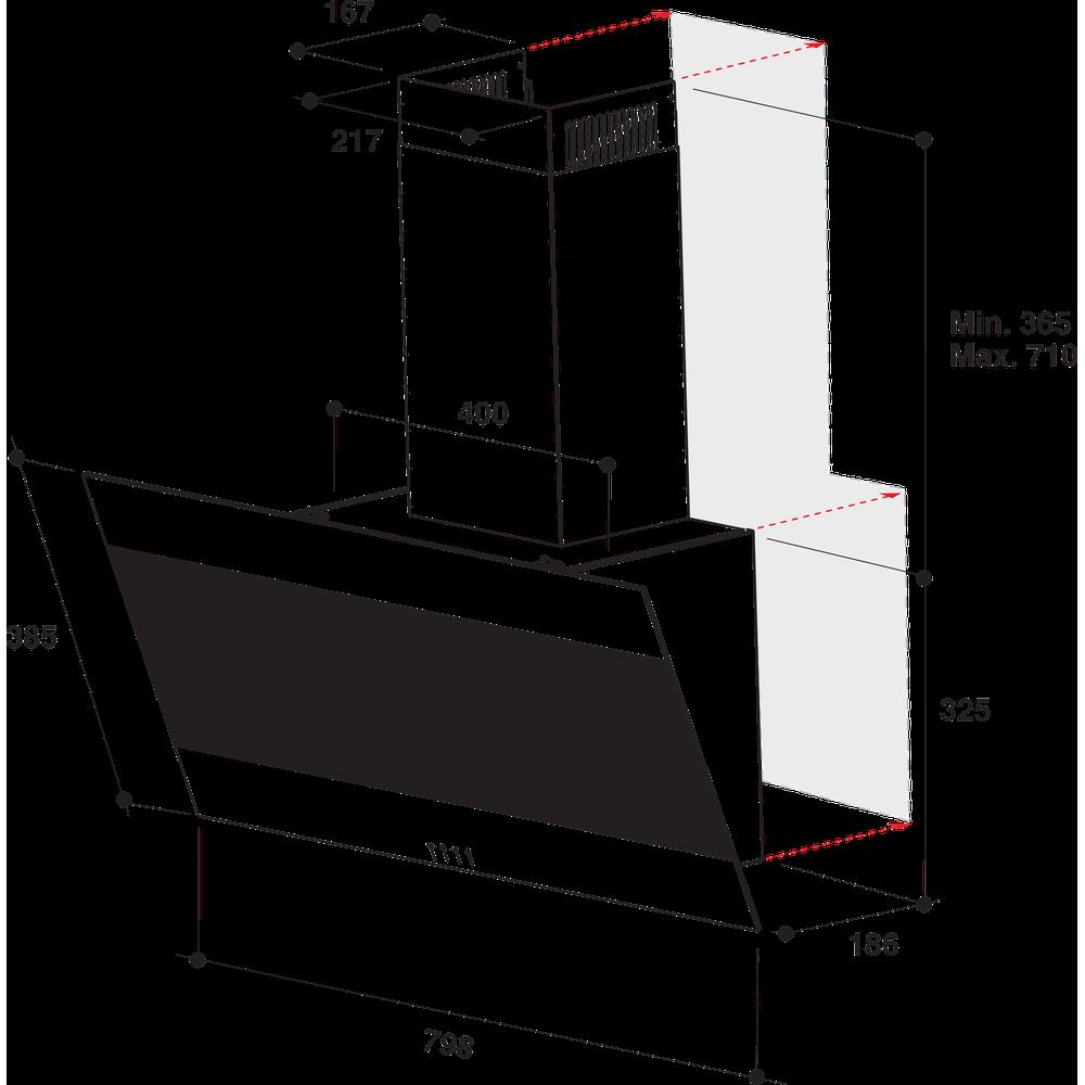 Indesit Dampkap Inbouw IHVP 83F LM K Zwart Wandmodel Mechanisch Technical drawing