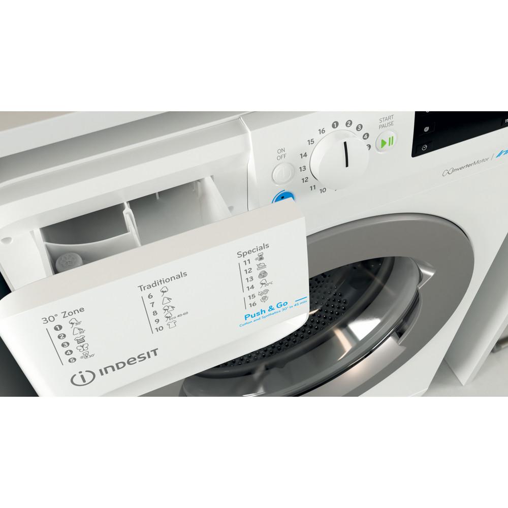 Indesit Lave-linge Pose-libre BWE 101483X WS EU N Blanc Lave-linge frontal D Drawer