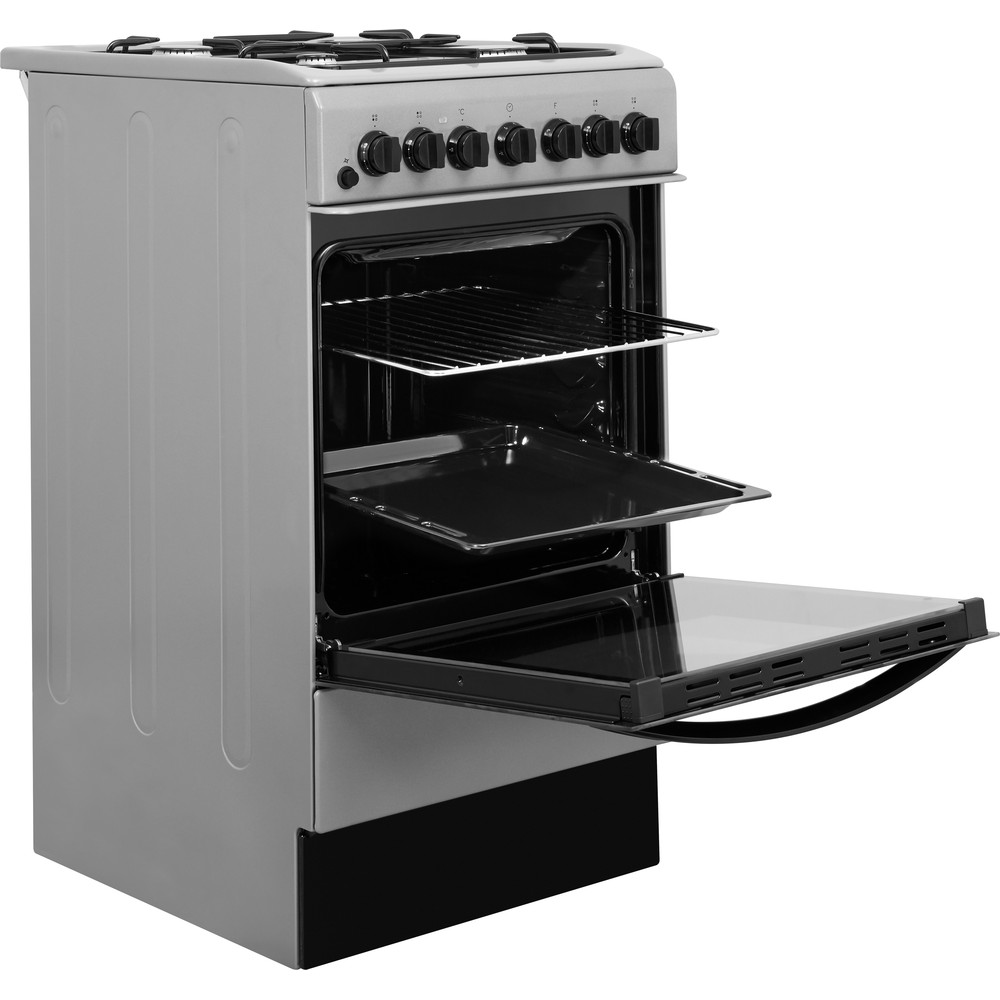 Indesit Cooker IS5G4PHSS/UK Inox GAS Perspective open