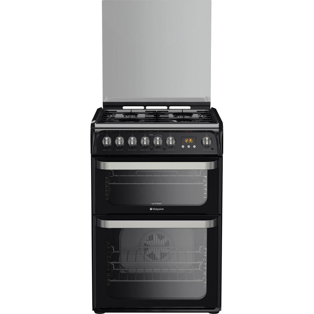 Hotpoint Double Cooker HUD61K S Black A Enamelled Sheetmetal Frontal