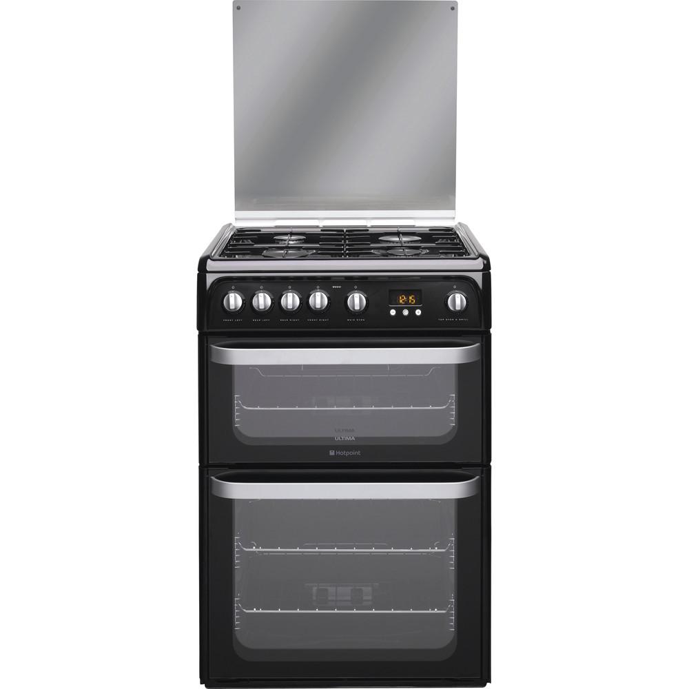 Hotpoint Double Cooker HUG61K Black A+ Enamelled Sheetmetal Frontal