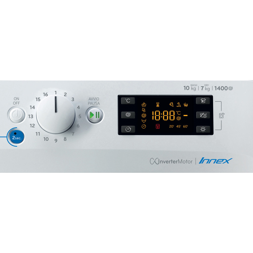 Indesit Lavasciugabiancheria A libera installazione BDE 1071482X WK IT N Bianco Carica frontale Control panel