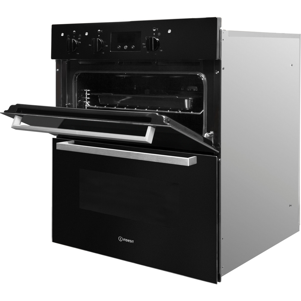 Indesit Double oven IDU 6340 BL Black B Perspective open