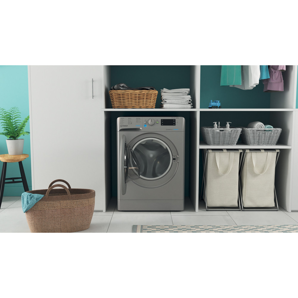 Indesit Washer dryer Free-standing BDE 861483X S UK N Silver Front loader Lifestyle frontal open