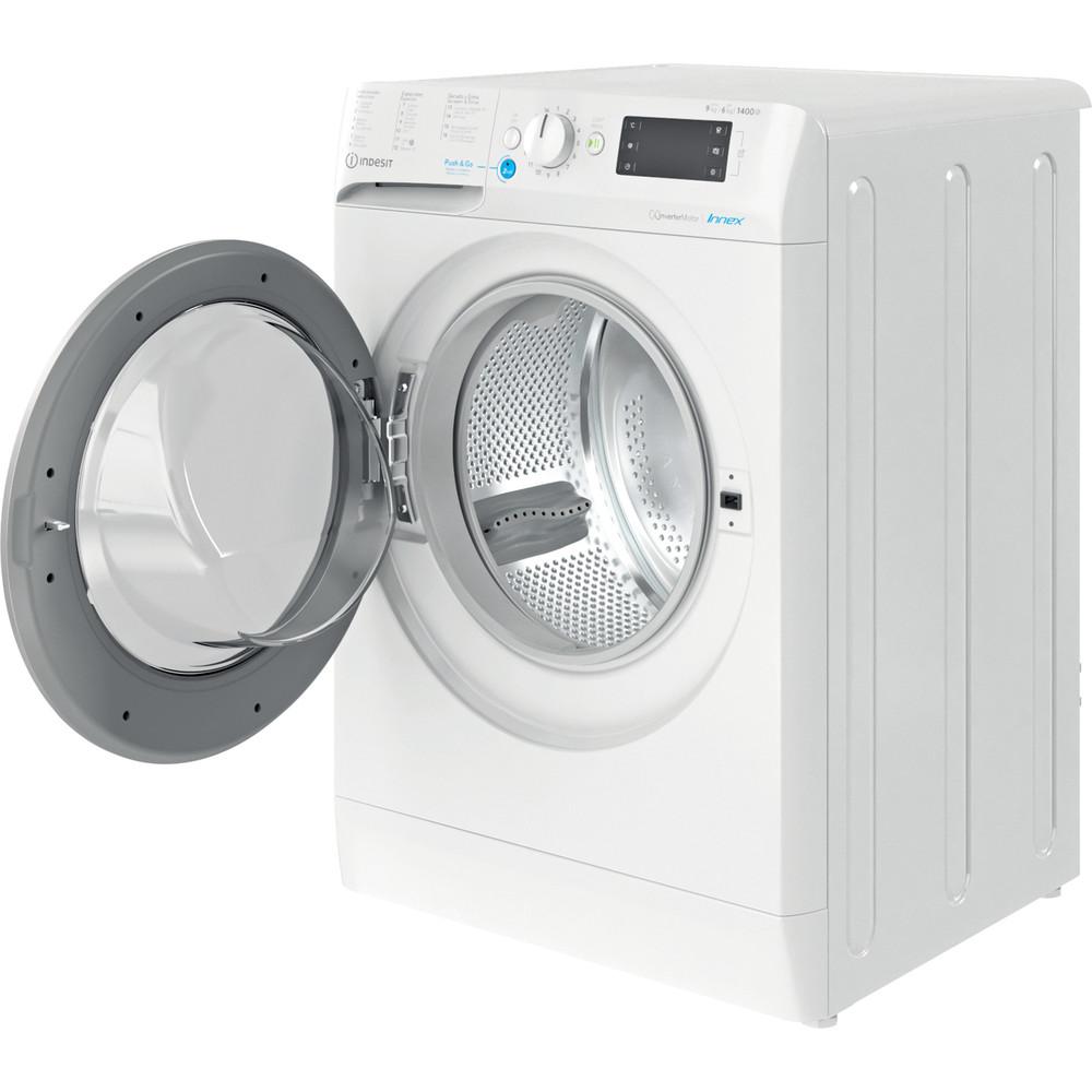 Indesit Máquina de lavar e secar roupa Livre Instalação BDE 961483X WS SPT N Branco Carga Frontal Perspective open