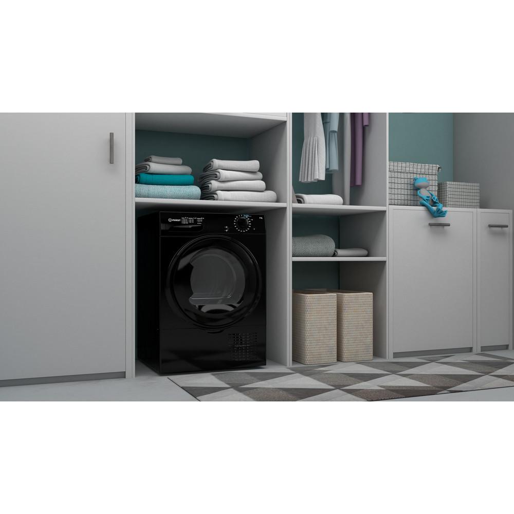 Indesit Dryer I2 D81B UK Black Lifestyle perspective