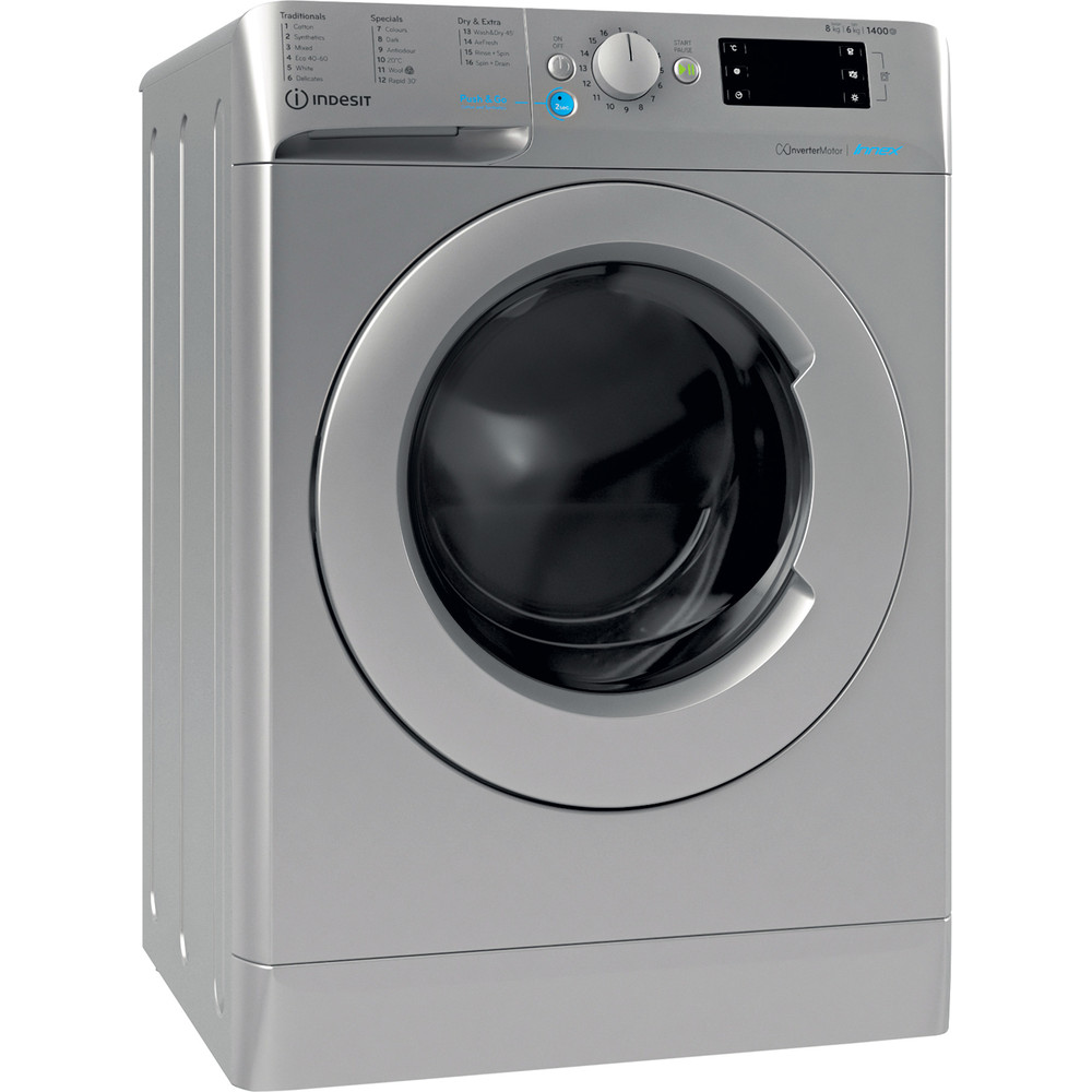 Indesit Washer dryer Free-standing BDE 861483X S UK N Silver Front loader Perspective