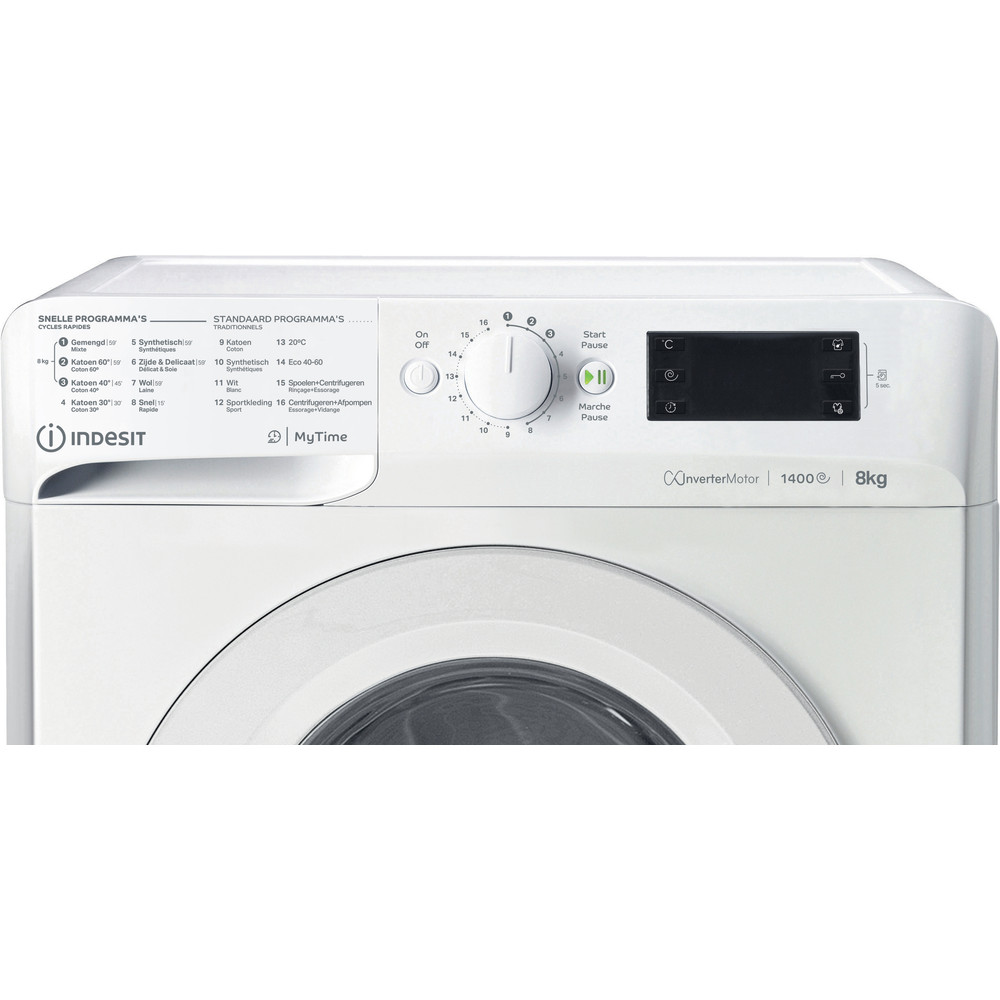 Indesit Wasmachine Vrijstaand MTWE 81483 W BE Wit Voorlader A+++ Control panel