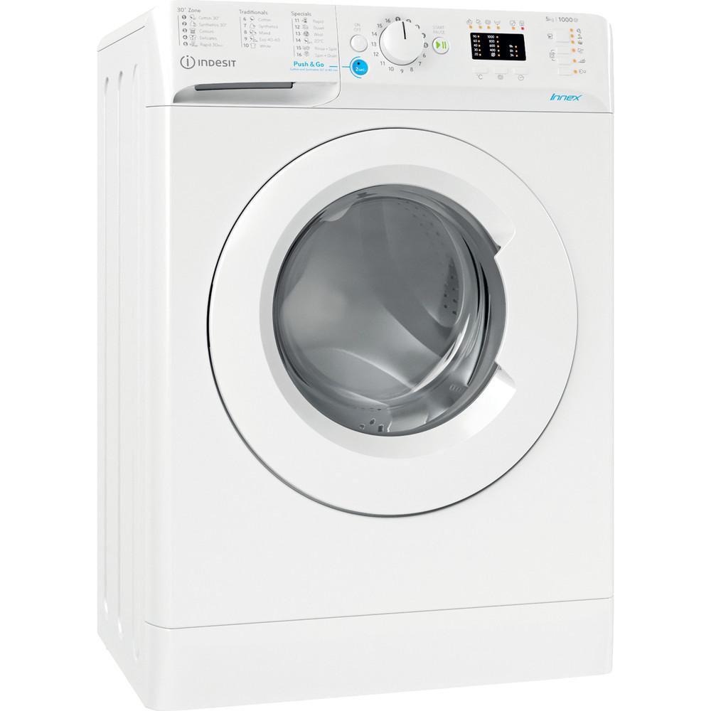 Indesit Перална машина Свободностоящи BWSA 51051 W EE N Бял Предно зареждане F Perspective
