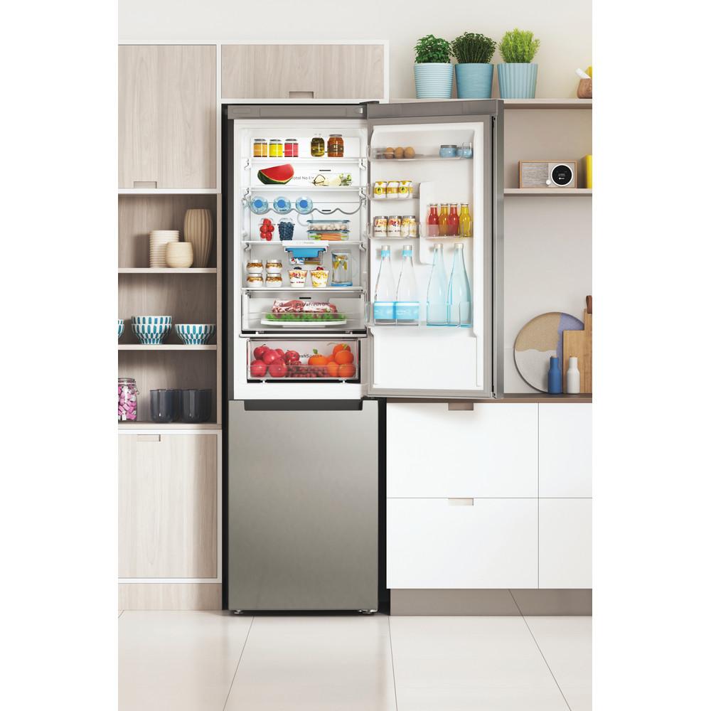 Indesit Combiné réfrigérateur congélateur Pose-libre INFC9 TO32X Inox 2 portes Lifestyle frontal open