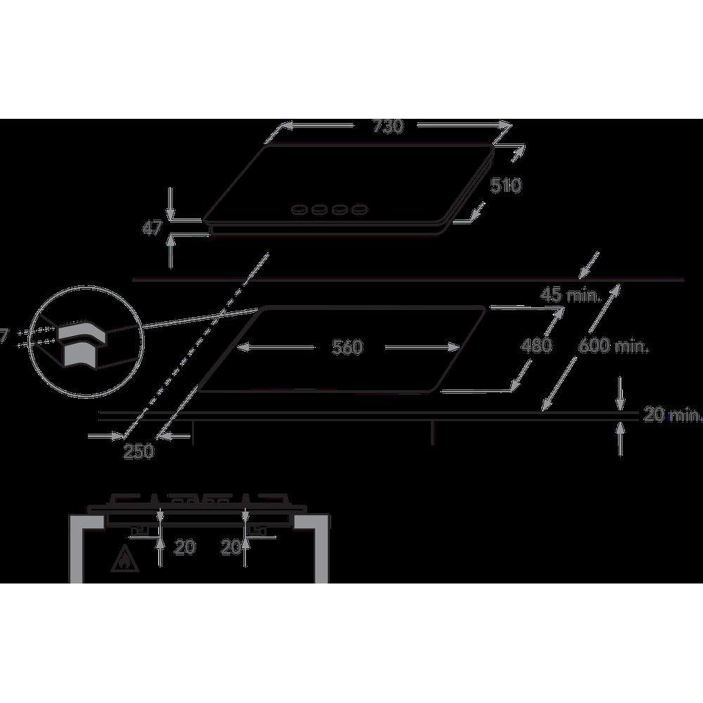 Misure Standard Piano Cottura Cucina kitchenaid piano cottura a gas 73 cm con installazione