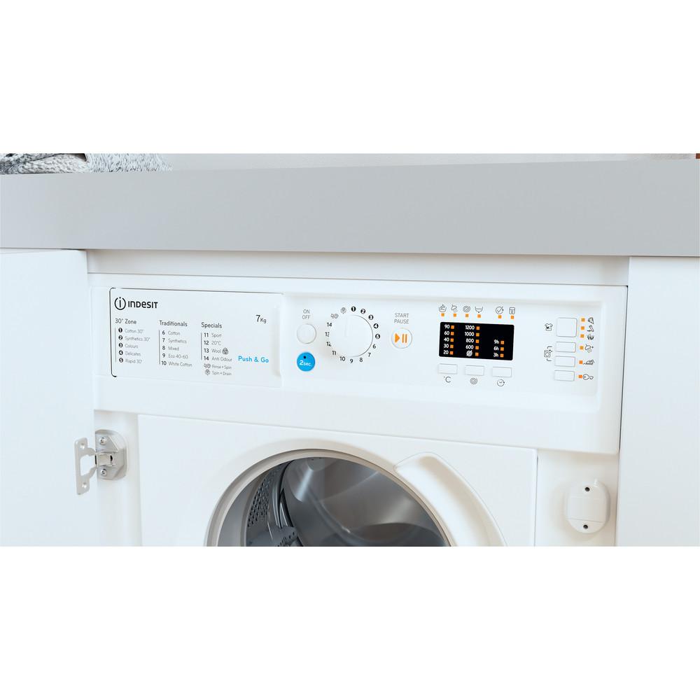 Indesit Washing machine Built-in BI WMIL 71252 UK N White Front loader E Lifestyle control panel