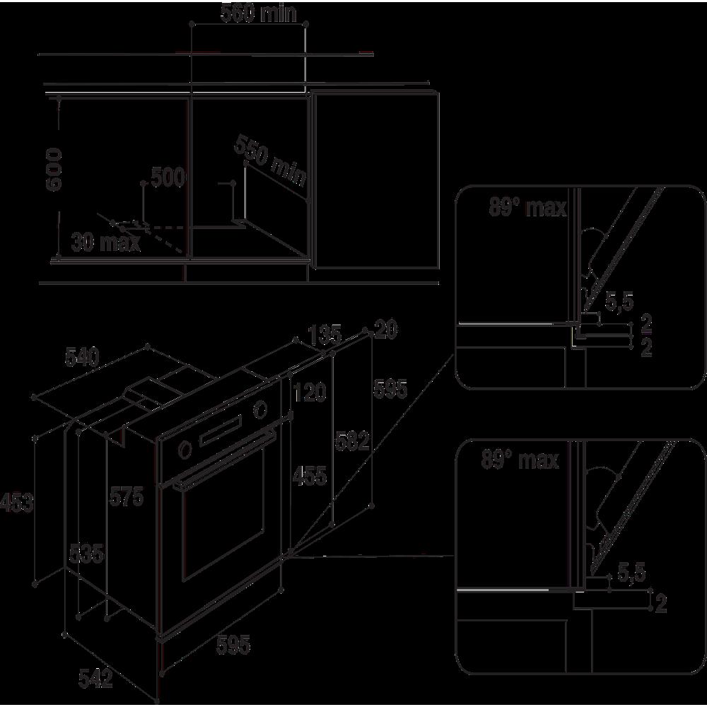Whirlpool inbyggnadsugn: färg svart - AKP 208/NB
