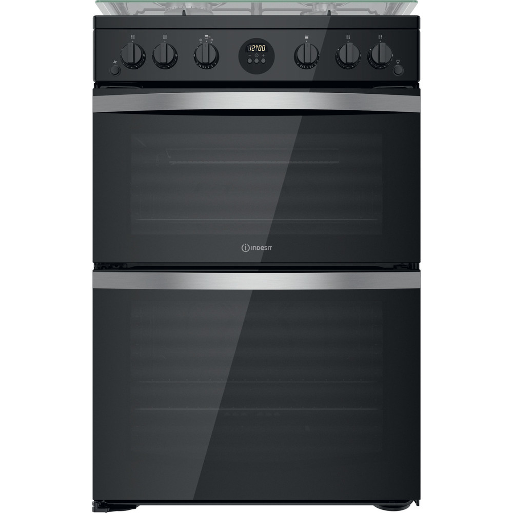 Indesit Double Cooker ID67G0MCB/UK Black A+ Frontal