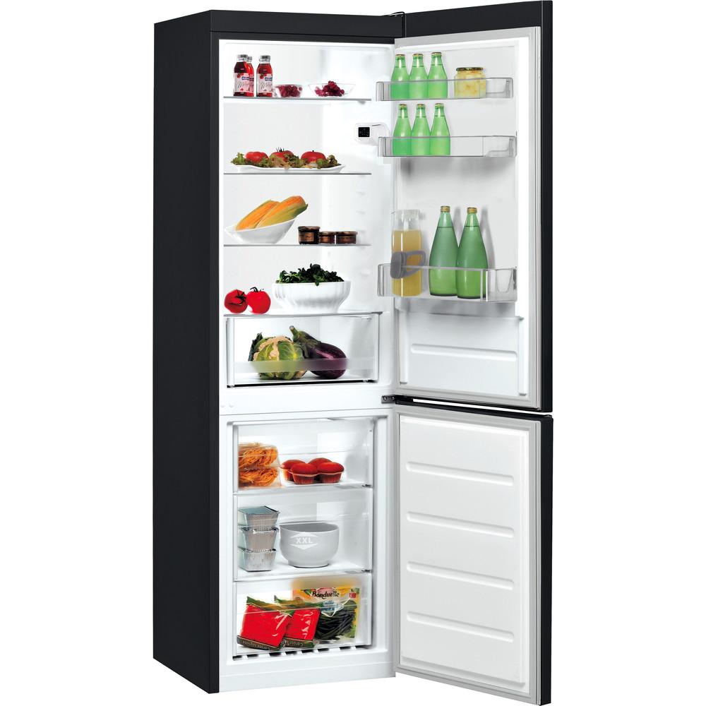 Indesit Kombinētais ledusskapis/saldētava Brīvi stāvošs LI8 SN2E K Melns 2 doors Perspective open