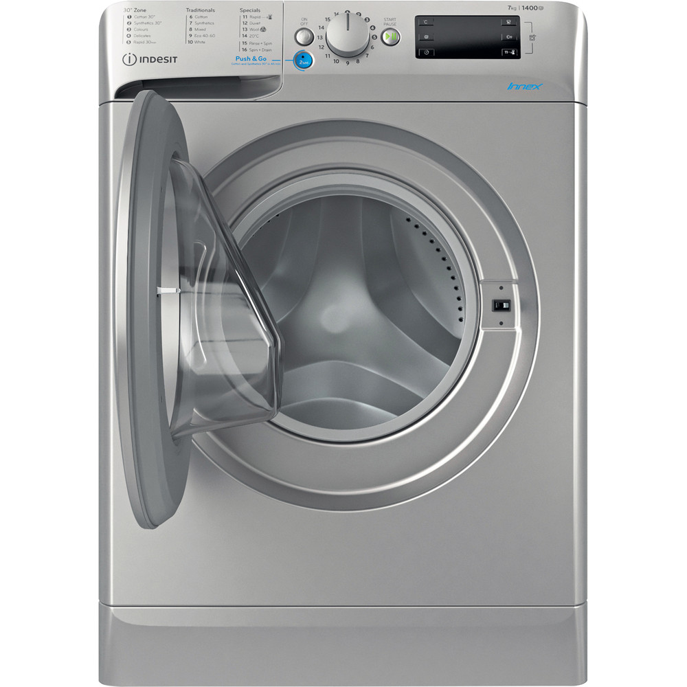 Indesit Washing machine Free-standing BWE 71452 S UK N Silver Front loader E Frontal open