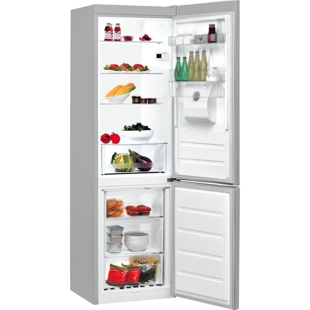 Indsit Racitor-congelator combinat Independent LI8 S1E S AQUA Silver 2 doors Perspective open