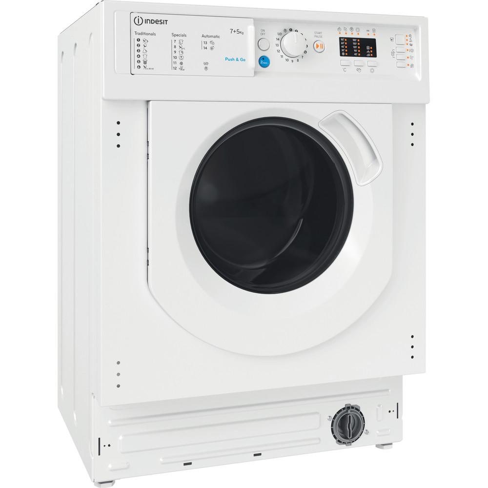 Indesit Lavadora secadora Encastre BI WDIL 751251 EU N Blanco Cargador frontal Perspective