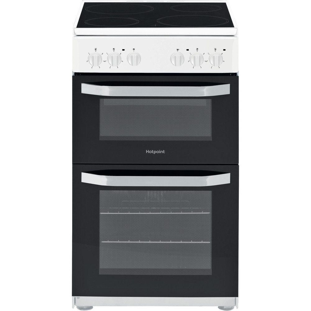 Hotpoint Double Cooker HD5V92KCW/UK White A Vitroceramic Frontal