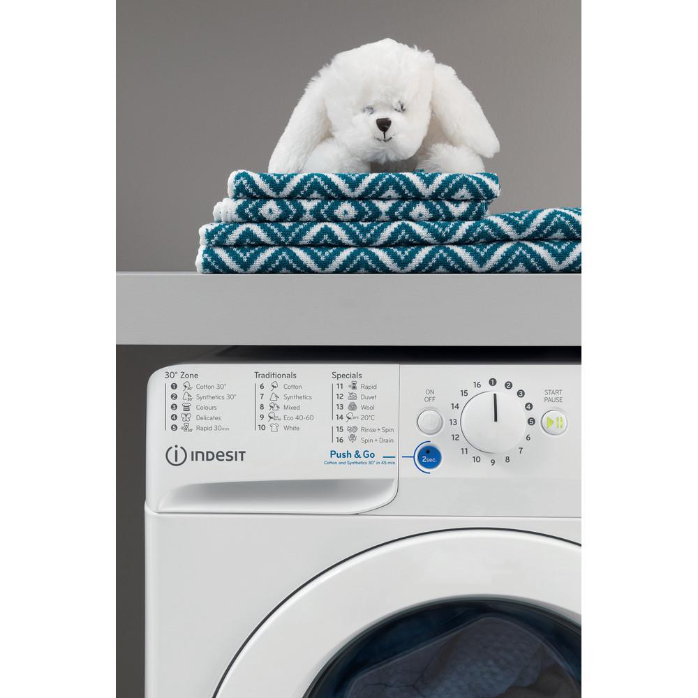 Indesit Washing machine Free-standing BWE 71452 W UK N White Front loader E Lifestyle control panel