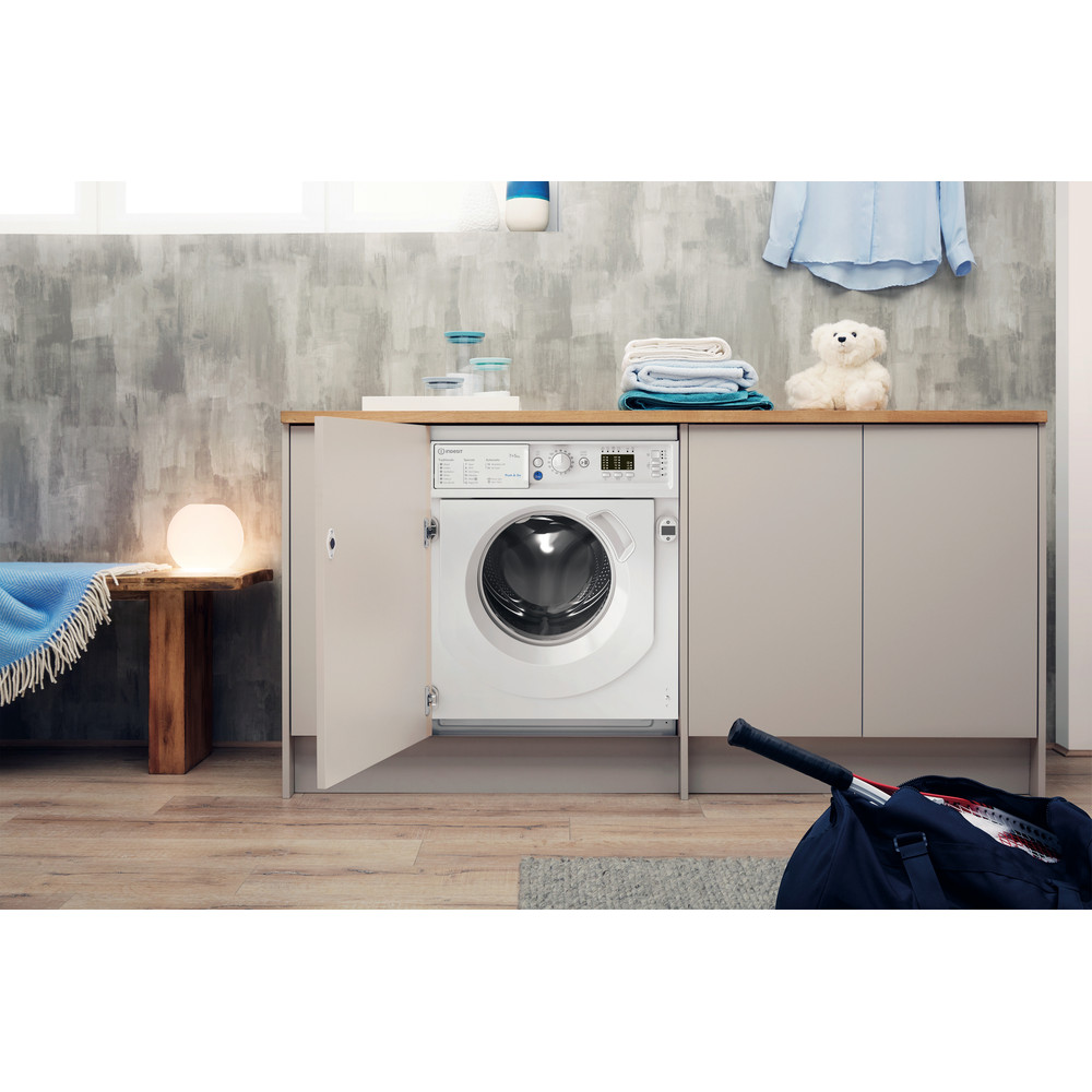 Indesit Washer dryer Built-in BI WDIL 75125 UK N White Front loader Lifestyle frontal