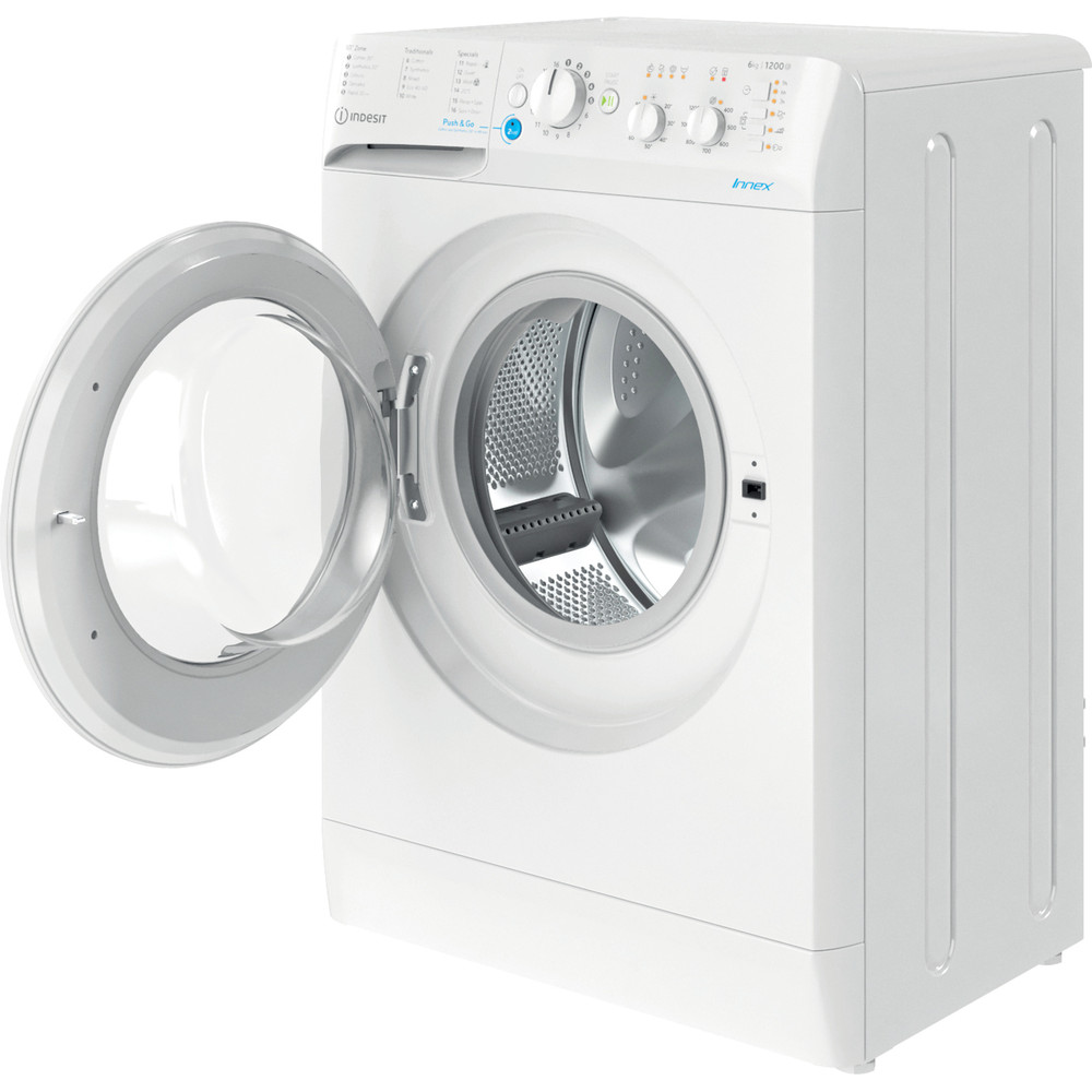 Indesit Washing machine Free-standing BWSC 61251 XW UK N White Front loader F Perspective open