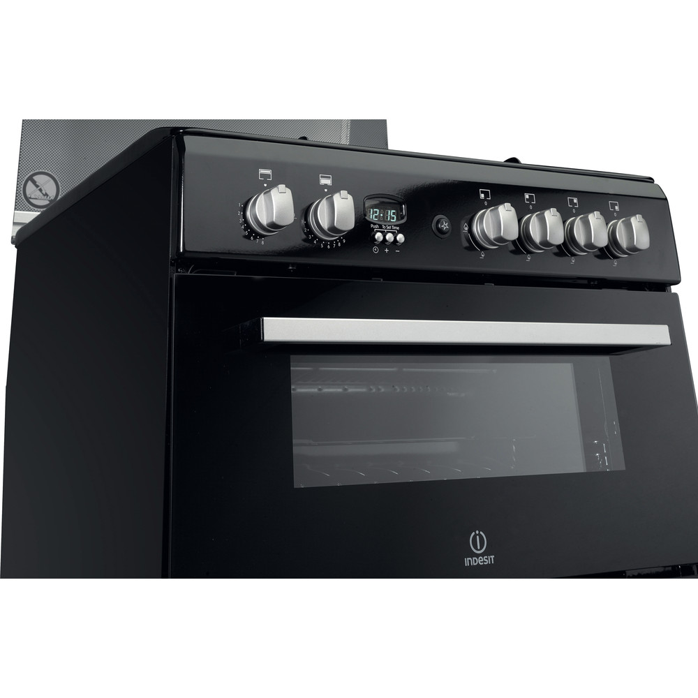 Indesit Double Cooker DD60G2CG(K)/UK Black A+ Enamelled Sheetmetal Control_Panel