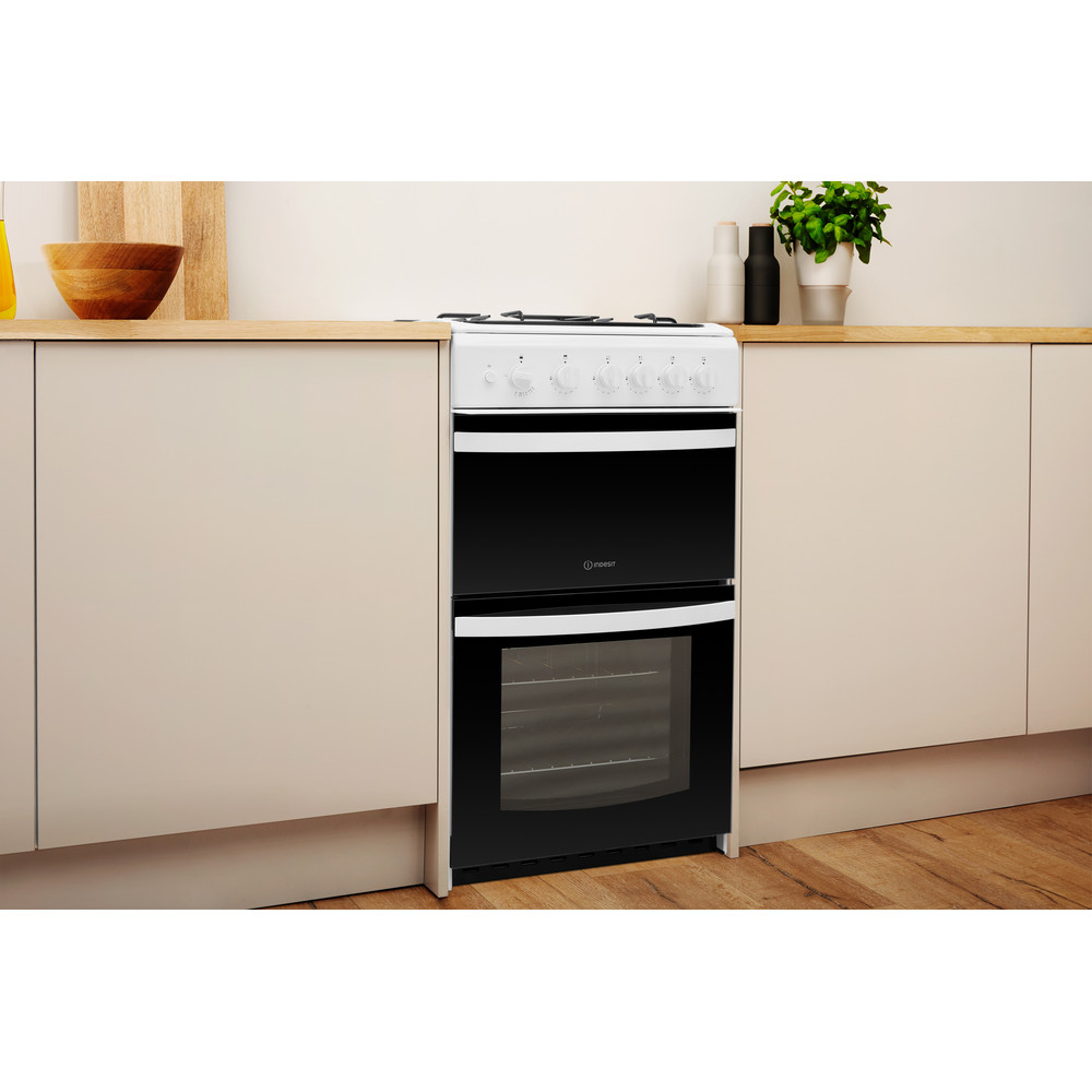 Indesit Double Cooker ID5G00KMW/UK White A+ Enamelled Sheetmetal Lifestyle perspective