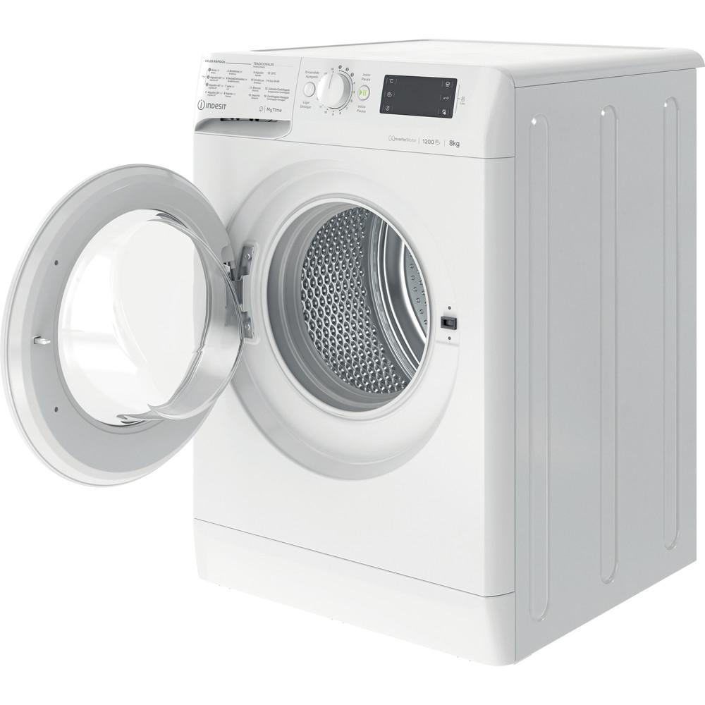 Indesit Máquina de lavar roupa Livre Instalação MTWE 81283 W SPT Branco Carga Frontal D Perspective open
