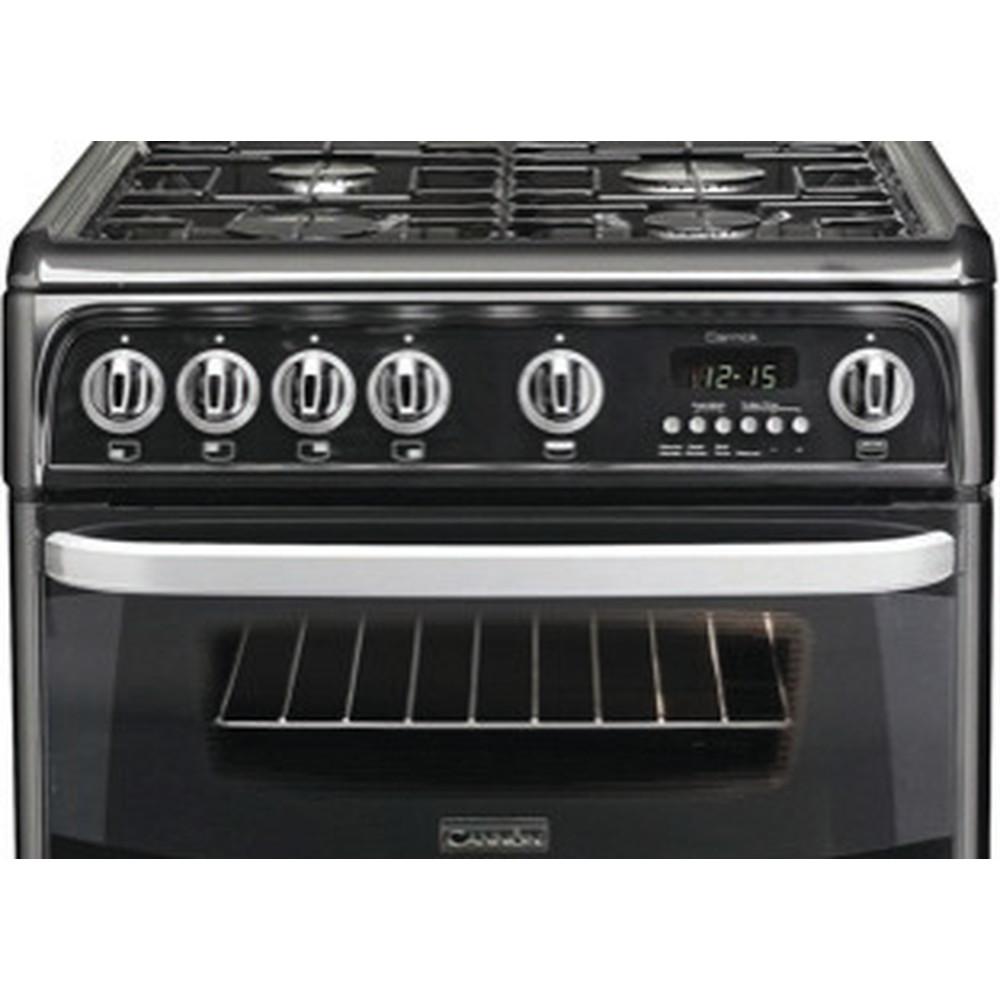 Hotpoint Double Cooker CH60GCIK Black A+ Enamelled Sheetmetal Frontal