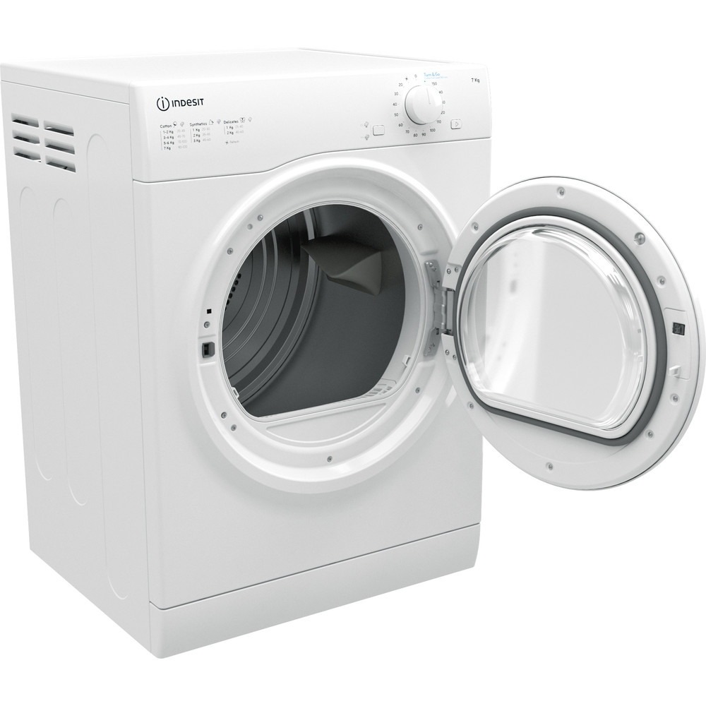 Indesit Dryer I1 D71W UK White Perspective open