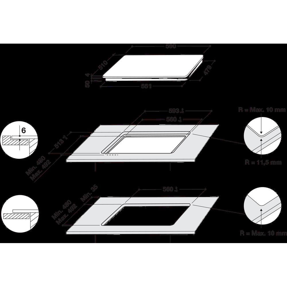 Indesit Table de cuisson IB 65B60 NE Noir Induction vitroceramic Technical drawing