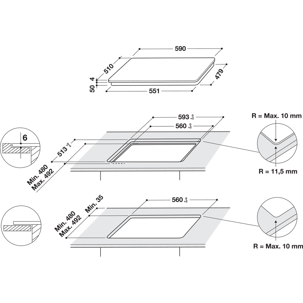 Indesit Encimera IS 33Q60 NE Negro Induction vitroceramic Technical drawing