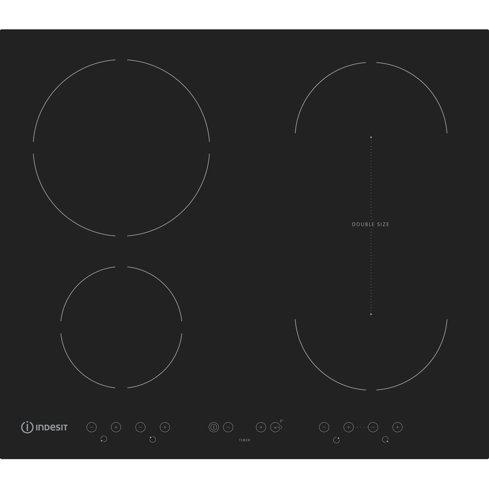 Indesit Table de cuisson IVID 641 B C Noir Induction vitroceramic Frontal