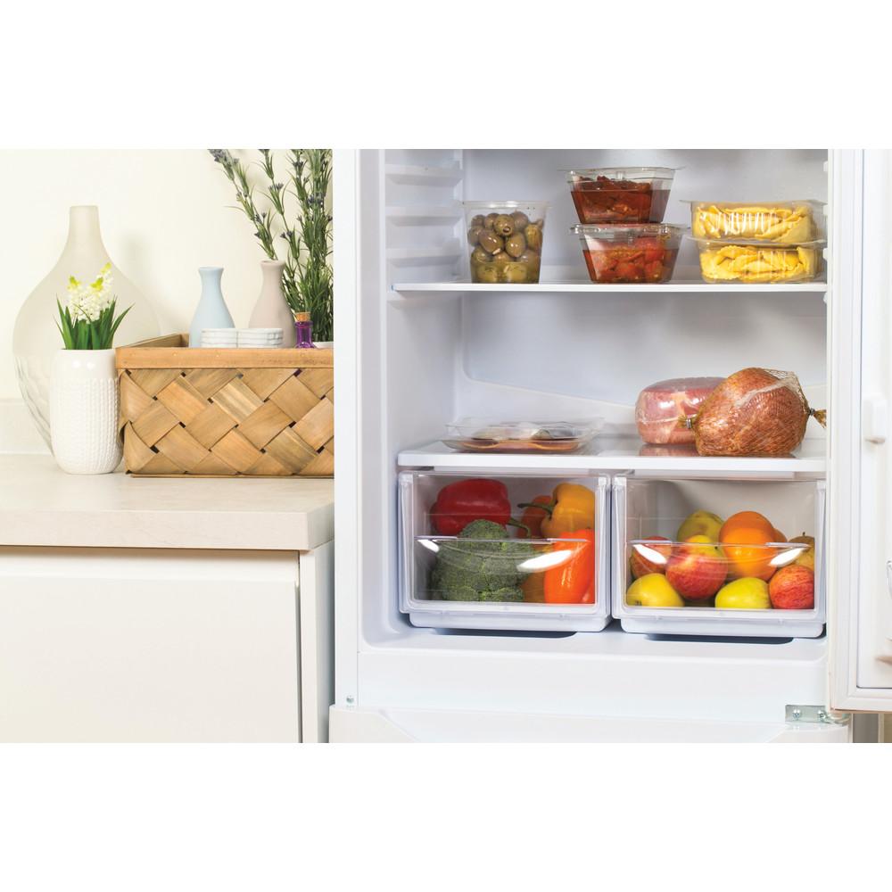 Indesit Комбиниран хладилник с камера Свободностоящи NCAA 55 Бял 2 врати Drawer