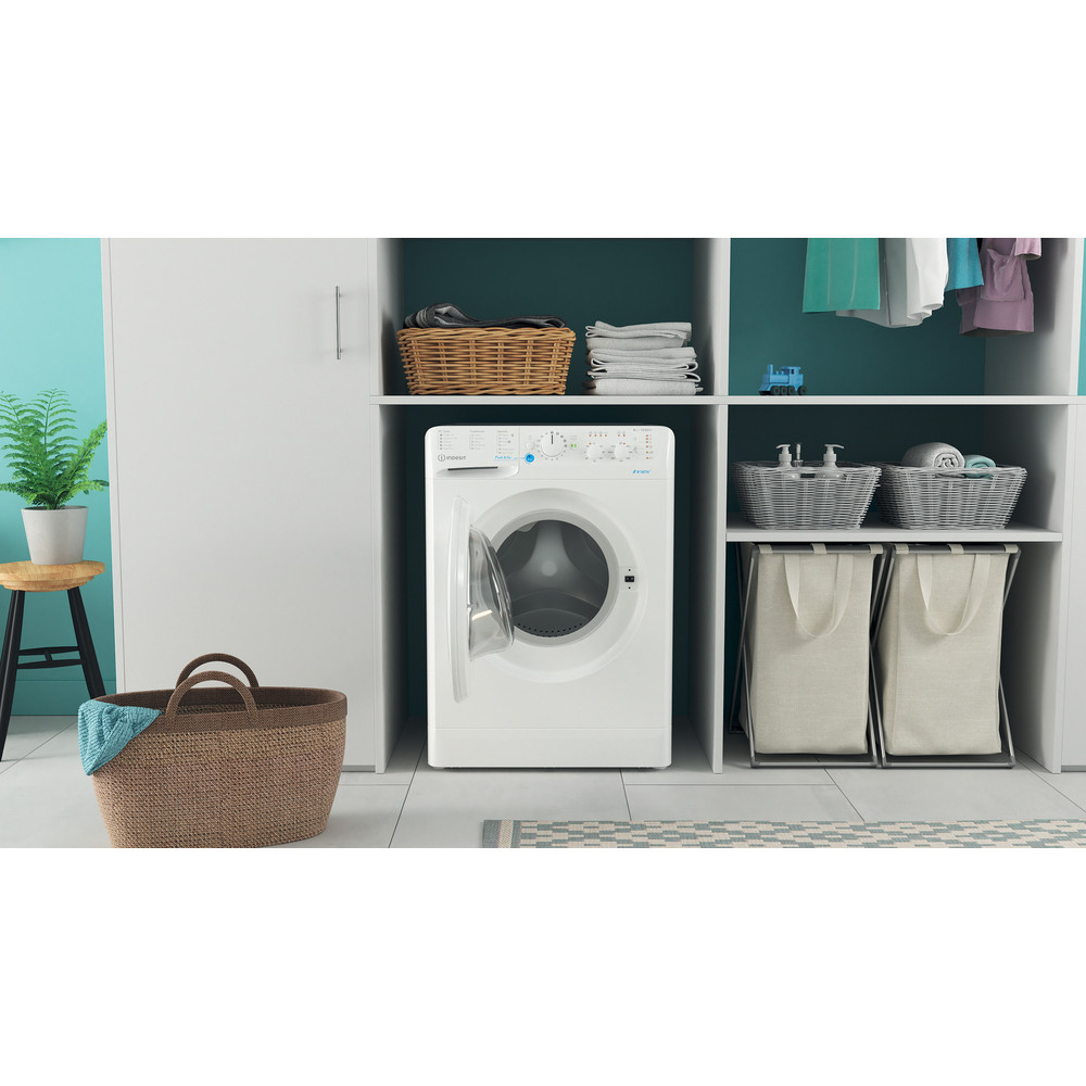 Indesit Washing machine Free-standing BWSC 61251 XW UK N White Front loader F Lifestyle frontal open