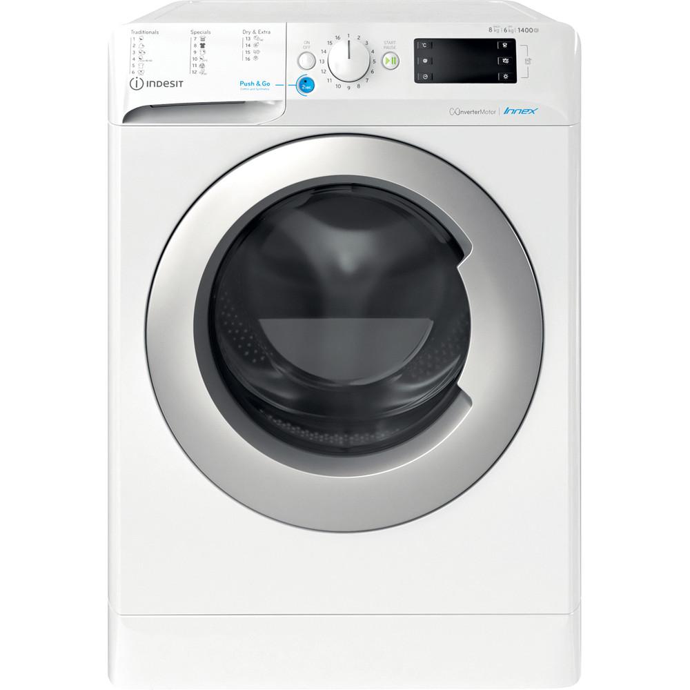 Indesit Kombineret vaskemaskine/tørretumbler Fritstående BDE 861483X WS EU N Hvid Frontbetjent Frontal