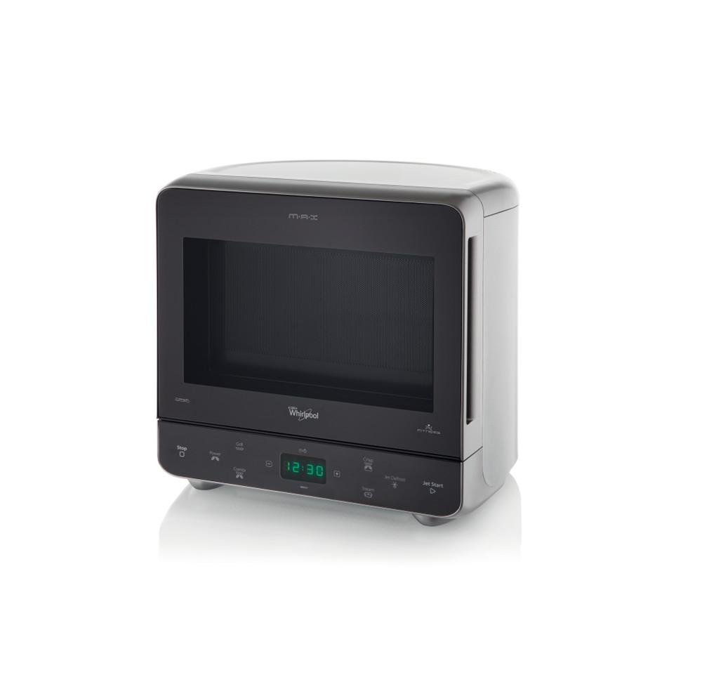 Whirlpool Mikrowelle Standgerät MAX 38 SL Silber Elektronisch 13 Mikrowelle+Grill 700 Perspective